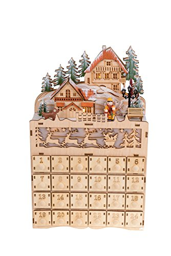 Clever Creations Wooden Christmas Village Advent Calendar Diarama | LED Lights | Wood Construction | Unique Holiday Decoration | Measures 8.75″ x 3″ x 14″ | Battery Powered
