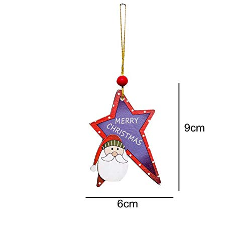 3PCS Christmas Cartoon Deer Wooden Pendants Ornament Colorful Xmas Tree Ornament Wood Crafts for Home Christmas Party Decoration,Star Santa Claus