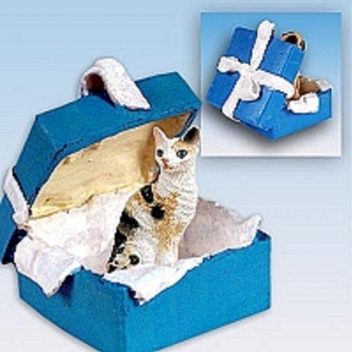 Conversation Concepts Tortoise & White Cornish Rex Gift Box Blue Ornament