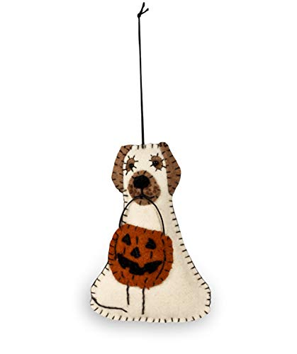 Bethany Lowe Halloween Spooky Ghost Dog with Jack O Lantern Fabric Ornament