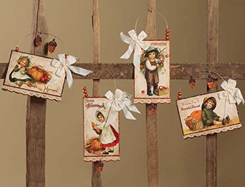 Bethany Lowe Harvest Postcard Fall Thanksgiving Ornament Set of 4