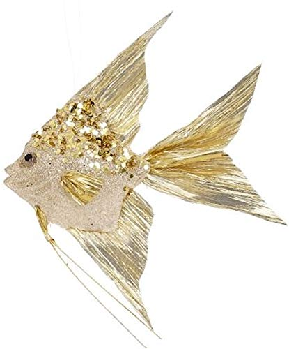 Mark Roberts Coastal Christmas Collection Angel Fish Ornaments Gold 10×8.5×1.75 Inch, 1 Ea