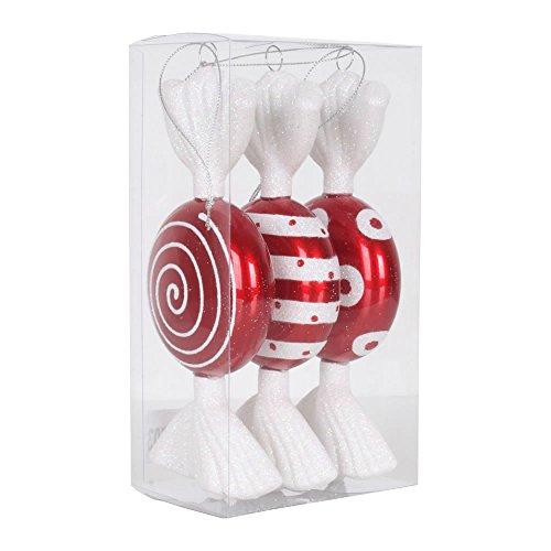 Vickerman M152503 Flat Plastic Candy Iridescent Glitter with 3 Assorted/Clear PVC Box, 7″, Red/White