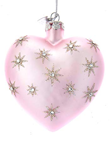 Kurt Adler 3″ Noble Gems Pink Heart w/Silver Stars Glass Ornament Standard