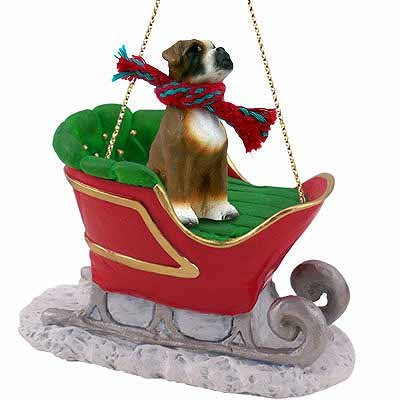 Conversation Concepts Uncropped Boxer Sleigh Dog Christmas Ornament
