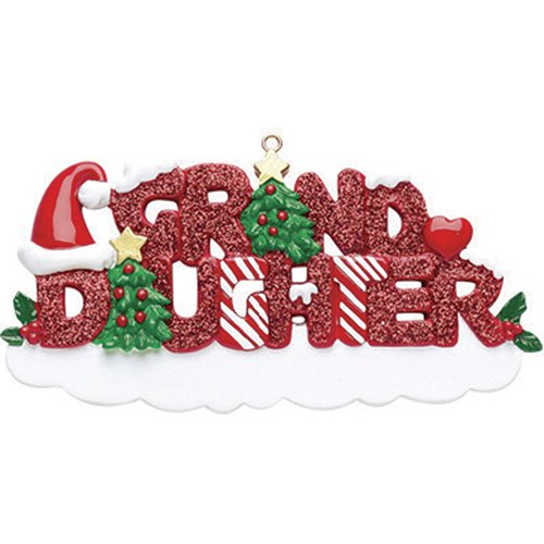Personalized Grand-Daughter Christmas Tree Ornament 2019 – Glitter Red Word Holly Santa Hat Heart Best World's Greatest Girl Love Member Tradition Special Forever Candy Cane – Free Customization