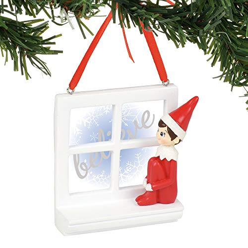 Department 56 Elf on The Shelf Believe Windowsill, 2.75″ Hanging Ornament, Multicolor