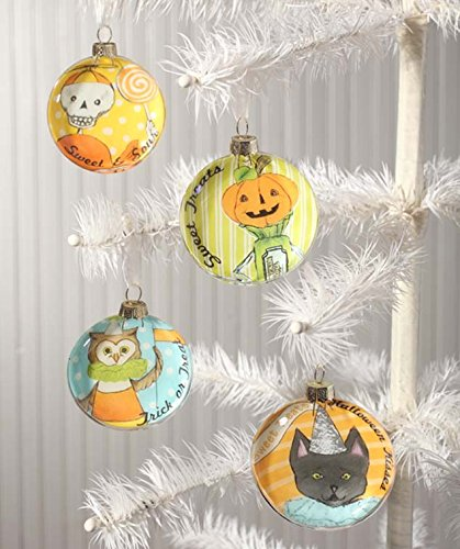 Bethany Lowes Halloween Decor – Sweet Treat Glass Disc Ornaments 4pc