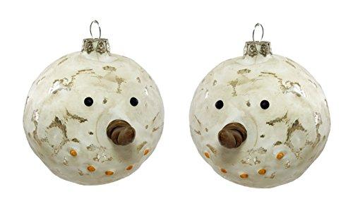 Creative Co-op Snowman Head Hanging Christmas Ornaments – Set of 2
