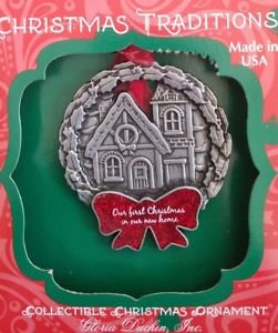Gloria Duchin First Christmas In Our New Home Ornament Handcrafted House In a Wreath with Red bow Tree Trimming Measures 2.5″ X 3″