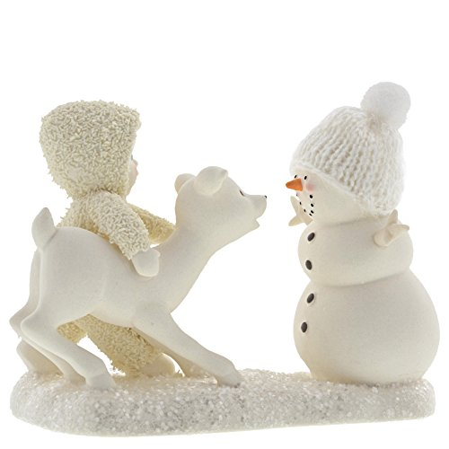 "Department 56 Snowbabies Peace Collection ""Deer Me, Who's That?"" Porcelain Figurine, 4″"