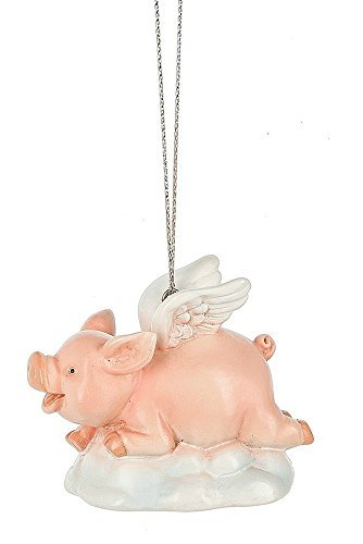 Midwest-CBK Flying Pig with Wings on Cloud Decorative Hanging Ornament