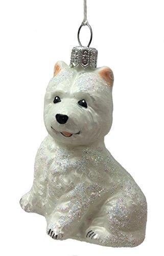 Pinnacle Peak Trading Company White Westie West Highland Terrier Dog Polish Glass Christmas Tree Ornament