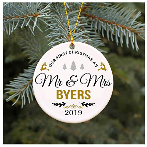 Ideas Gift At First Christmas for Married Couple Our First Christmas As Mr&Mrs Byers 2019 Wedding Present Hatfield Christmas Tree Decorations 3 Inches Tall Circle Ceramic Ornaments