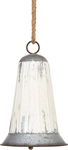 RAZ Imports Large White Iron Bell Ornament – 10.5 inches Tall