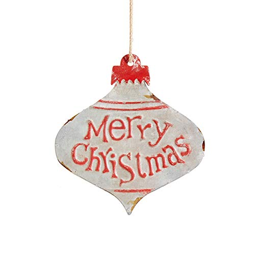 RAZ Imports Vintage Merry Christmas Embossed Metal Ornament 5-3/4-in