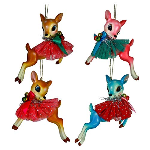 One Hundred 80 Degrees Set/4 Reindeer Blue Pink Brown Retro Vintage Style Christmas Tree Ornaments