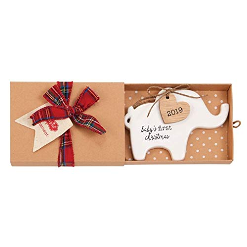 Mud Pie 2019 Elephant Ceramic Ornament Size: 3″ x 4 1/2″