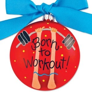 Coton Colors Born to Workout * Glass Holiday Gift PO-WOUT-NOMSG
