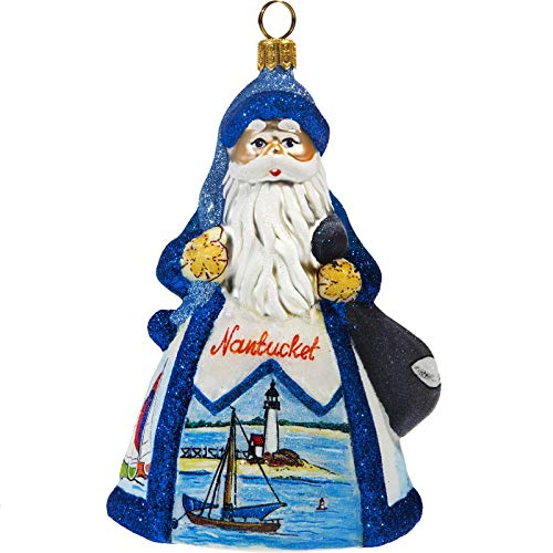 Joy to the World Collectibles Glitterazzi Nantucket Santa Polish Glass Christmas Ornament