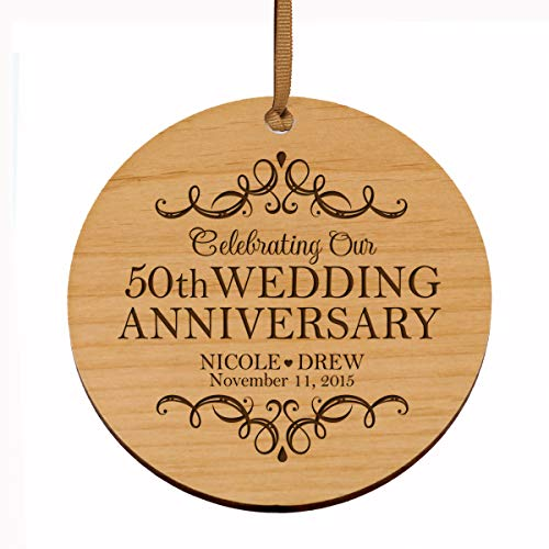 LifeSong Milestones Personalized 50th Anniversary Wood Style Christmas Ornament for 50 Years of Marriage – Fifty Year Wedding Keepsake Gift for Parents Husband Wife him her 3.75″ (Wood)