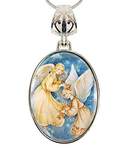 G. Debrekht Angels Watching Over Silver-Plated Mother-of-Pearl Cabochon Pendant with Chain Figurine, 18″