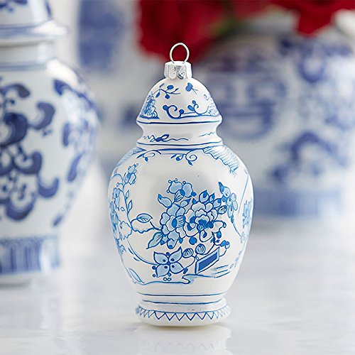 Raz 5″ Delft White and Blue Temple Jar Glass Christmas Ornament 3853005