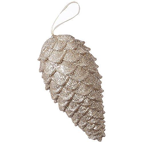 RAZ Imports Raz 9″ Champagne Glittered Pine Cone Christmas Ornament 3816305