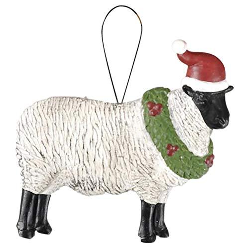Blossom Bucket Sheep with Santa Hat Ornament