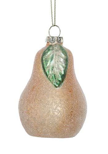 Creative Co-op Sweet Summer Pear Glitter Glass Hanging Ornament
