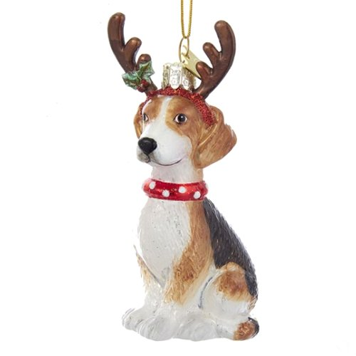 Noble Gems Beagle with Antlers Glass Ornament