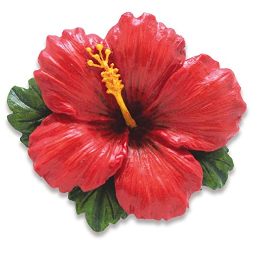 Island Heritage Hand-Painted Resin Ornaments Hibiscus Red
