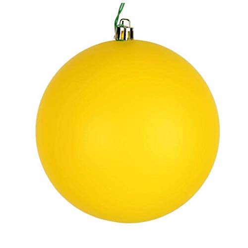 Vickerman 624128-4″ Yellow Matte Ball Christmas Tree Ornament (6 pack) (N591078DMV)