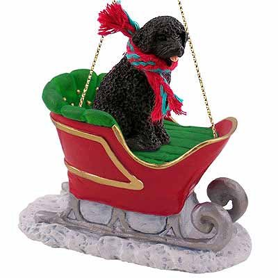 Portuguese Water Dog Sleigh Ride Christmas Ornament – DELIGHTFUL! by Conversation Concepts