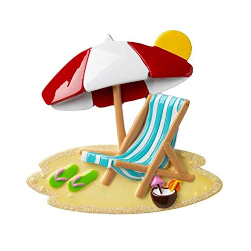 Personalized Beach Chair with Umbrella Christmas Tree Ornament 2019 – Tropic Summer-House Holiday Travel Tourist Away Flip-Flop Coconut Swim Sand South First Love Sea Gift Year – Free Customization