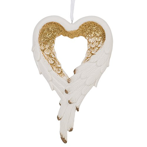 Wrapped in Angel's Wings Heart Gilded Gold 4 x 6.5 Inch Porcelain Holiday Tree Ornament