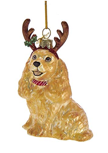 Kurt-Adler Glass Ornament with S-Hook and Gift Box, Dog with Antlers Collection (Cocker Spaniel, Brown, NB1448CS)