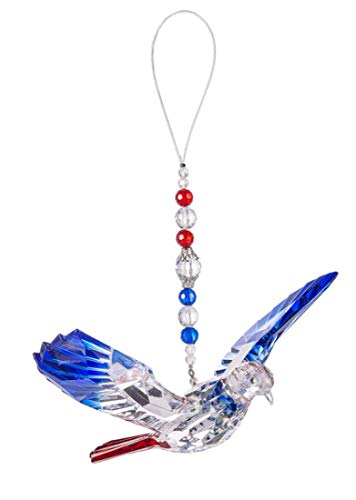 Ganz 7 Inch Acrylic Flying Memorial Dove Ornament ~ Red White Blue