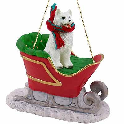 Conversation Concepts American Eskimo Dog Sleigh Ride Christmas Ornament – DELIGHTFUL!