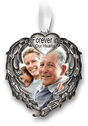 BANBERRY DESIGNS Forever in Our Hearts Christmas Ornament – Silver Heart Ornaments with Heart Shaped Angel Wings – Hanging Memorial Ornament – in Memory Christmas Ornament