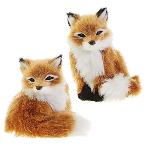 RAZ Imports Faux Fur Fox Figurine Ornaments – Set of 2 Assorted