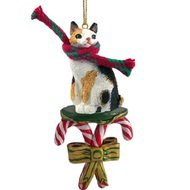 Conversation Concepts Tortoise & White Japanese Bobtail Candy Cane Ornament