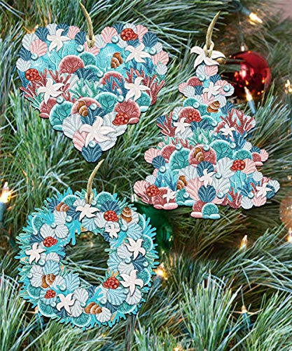 G. Debrekht Christmas Ornaments – Coastal and Sea Life Wooden Christmas Tree Ornaments – Christmas Decorations for Holiday – Set of 3 (Coastal)