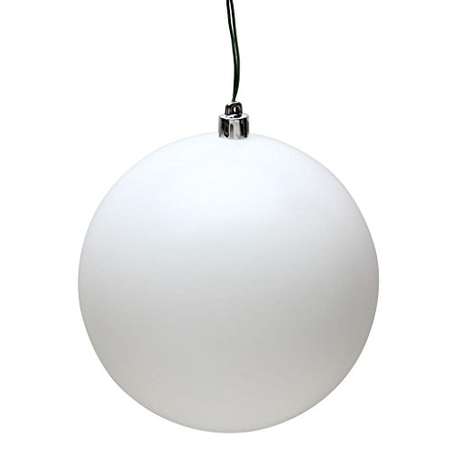 Vickerman 484883 – 6″ White Matte Ball Christmas Tree Ornament (4 pack) (N591511DMV)