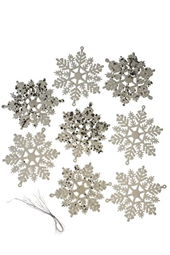 Clever Creations Christmas Snowflake Ornament Set Beautiful White and Glitter Pattern | 8 Pack | Festive Holiday Décor | Classic Design | Light Weight Shatter Resistant | Hangers Included | 90mm