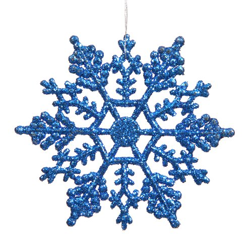 Vickerman Glitter Snowflake Christmas Ornaments with 12 per PVC Box, 8″, Blue