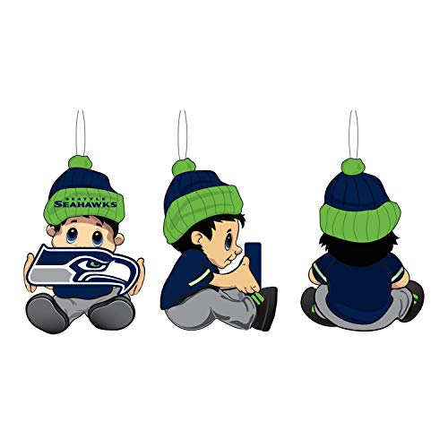 Team Sports America NFL Seattle Seahawks Remarkable Adorable Lil Fan Christmas Ornament – 2″ Long x 2″ Wide x 3″ High