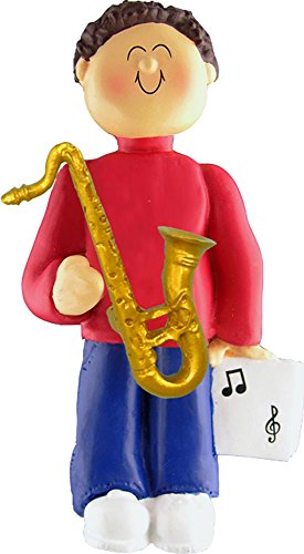 Music Treasures Co. Male Musician Sax Ornament (Brown Hair)