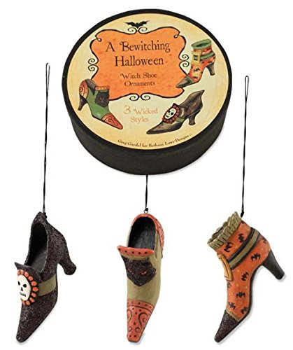 Bethany Lowe Witch Shoe Ornament Set – Set of Three