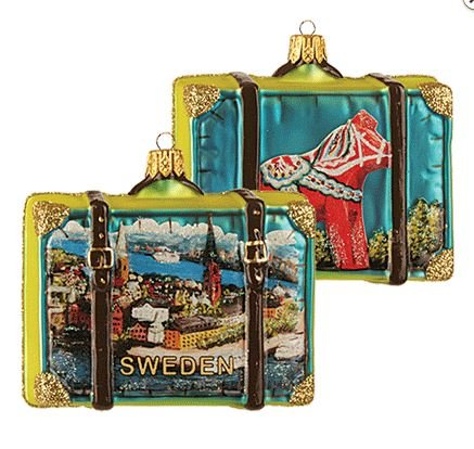Pinnacle Peak Trading Company Sweden Travel Suitcase Polish Glass Christmas Ornament ONE Decoration Dala Horse